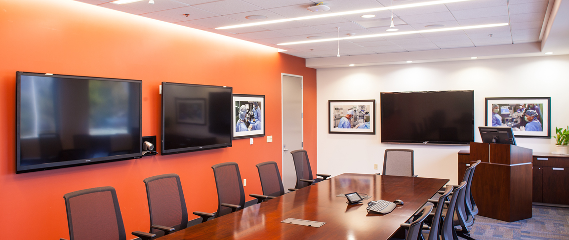 High-tech conference room  featuring telecommunications and audio/visual display