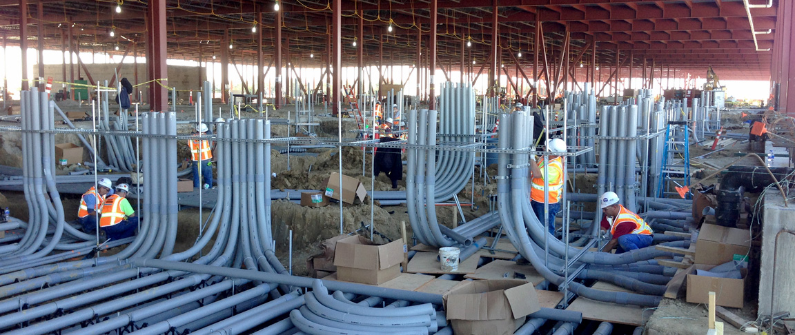 Cupertino Electric electricians at work on this social media client's new design/build data center