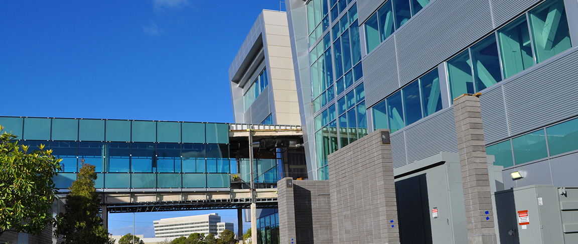 Exterior view of commercial office building for biotech/pharmaceutical company