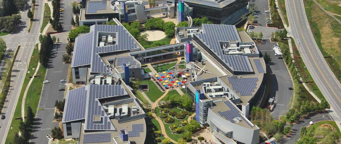 Aerial overview of the solar PV system installed on Google's main corporate headquarter campus